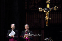 Monsignor Georg Ganswein,Monsignor Guido Marini.Pope Francis vigil prayer in preparation for the Synod on the Family at St Peter's square at the Vaticann.October 4, 2014