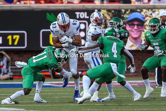North Texas Mean Green wide receiver Damon Ward Jr. (83) in action during the game between the UNT Mean Green and the SMU Mustangs at the Gerald J. Ford Stadium in Fort Worth, Texas.