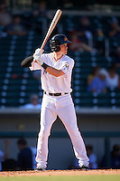 Mesa Solar Sox Brian Anderson (14), of the Miami Marlins organization, during a game against the Scottsdale Scorpions on October 21, 2016 at Sloan Park in Mesa, Arizona.  Mesa defeated Scottsdale 4-3.  (Mike Janes/Four Seam Images)
