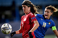 Sofie Junge Pedersen of Denmark and Cristiana Girelli of Italy compete for the ball during the Women s EURO 2022 qualifying football match between Italy and Denmark at stadio Carlo Castellani in Empoli (Italy), October, 27th, 2020. Photo Andrea Staccioli / Insidefoto
