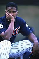 Garret Anderson of the Anaheim Angels during a 2000 season MLB game at Angel Stadium in Anaheim, California. (Larry Goren/Four Seam Images)