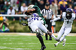 Baylor Bears running back Devin Chafin (28) and TCU Horned Frogs safety Derrick Kindred (26) in action during the game between the TCU Horned Frogs and the Baylor Bears at the McLane Stadium in Waco, Texas. TCU leads Baylor 31 to 27 at halftime.