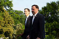 Jared Kushner, Assistant to the President and Senior Advisor, left, and Dan Scavino, Assistant to the President and Deputy Chief of Staff for Communications, walk on the South Lawn of the White House after arriving on Marine One in Washington, D.C., U.S., on Sunday, June 14, 2020.  U.S. President Donald Trump tweeted that he will not watch the NFL or the U.S. Soccer Federation if either organization allows players to kneel during the playing of the American National Anthem.  <br /> Credit: Stefani Reynolds / Pool via CNP/AdMedia