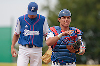 30 july 2010: Catcher Boris Marche is seen during Italy 9-2 win over France, in day 6 of the 2010 European Championship Seniors, at TV Cannstatt ballpark, in Stuttgart, Germany.