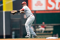 Shortstop Caleb Bushyhead #5 of the Oklahoma Sooners throws the ball to first against the Texas Longhorns in NCAA Big XII baseball on May 1, 2011 at Disch Falk Field in Austin, Texas. (Photo by Andrew Woolley / Four Seam Images)