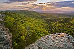 Petit Jean State Park, Arkansas:<br /> Setting sun over the Arkansas River valley from Petit Jean mountain