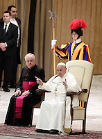 Papa Francesco tiene un'udienza speciale per i membri della Conferenza Episcopale italiana, CEI, in Aula Paolo Vi. Città del Vaticano, 5 gennaio 2017.<br /> Pope Francis delivers his speech during a special audience with members of the Italian Episcopal Conference, CEI, in Paul VI Hall at the Vatican, on January 5, 2017.<br /> UPDATE IMAGES PRESS/Isabella Bonotto<br /> <br /> STRICTLY ONLY FOR EDITORIAL USE