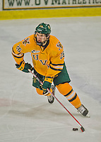 19 February 2016: University of Vermont Catamount Defenseman Trey Phillips, a Sophomore from Okotoks, Alberta, in second period action against the Boston College Eagles at Gutterson Fieldhouse in Burlington, Vermont. The Eagles defeated the Catamounts 3-1 in the first game of their weekend series. Mandatory Credit: Ed Wolfstein Photo *** RAW (NEF) Image File Available ***