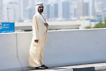 H.H. Sheikh Mohammed bin Rashid Al Maktoum Vice President and Prime Minister of the United Arab Emirates and ruler of Dubai watches Stage 6 of the 2021 UAE Tour running 165km from Deira Island to Palm Jumeirah, Dubai, UAE. 26th February 2021.<br /> Picture: LaPresse/Fabio Ferrari   Cyclefile<br /> <br /> All photos usage must carry mandatory copyright credit (© Cyclefile   LaPresse/Fabio Ferrari)