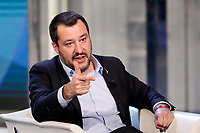 Matteo Salvini pretending to shoot a gun<br /> Rome January 10th 2019. The Italian Minister of Internal Affairs appears as a guest on the tv show Porta a Porta<br /> Foto Samantha Zucchi Insidefoto