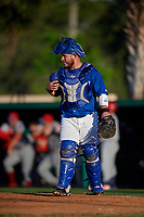 Dunedin Blue Jays catcher Alejandro Kirk (26) during a Florida State League game against the Clearwater Threshers on May 11, 2019 at Jack Russell Memorial Stadium in Clearwater, Florida.  Clearwater defeated Dunedin 9-3.  (Mike Janes/Four Seam Images)