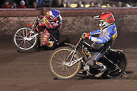 Heat 11: Lewis Bridger (red) and Andreas Jonsson (blue) - Lee Richardson Memorial Speedway Meeting at Arena Essex Raceway, Purfleet - 28/09/12 - MANDATORY CREDIT: Gavin Ellis/TGSPHOTO - Self billing applies where appropriate - 0845 094 6026 - contact@tgsphoto.co.uk - NO UNPAID USE.
