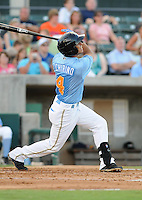 Infielder Santiago Chirino (4) of the Myrtle Beach Pelicans in a game against the Frederick Keys on August 4, 2012, at TicketReturn.Com Field in Myrtle Beach, South Carolina. Myrtle Beach won, 4-3. (Tom Priddy/Four Seam Images)