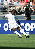 Carlos Palacios kicks the ball. Honduras defeated Haiti 1-0 during the First Round of the 2009 CONCACAF Gold Cup at Qwest Field in Seattle, Washington on July 4, 2009.