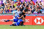 Tone Ng Shiu of New Zealand (C) is tackled by Jacob Ale of Samoa (R) during the HSBC Hong Kong Sevens 2018 match between New Zealand and Samoa on April 7, 2018 in Hong Kong, Hong Kong. Photo by Marcio Rodrigo Machado / Power Sport Images