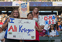 Carson, CA - Thursday August 03, 2017: Ali Krieger, Kelley O'Hara, Fans during a 2017 Tournament of Nations match between the women's national teams of the United States (USA) and Japan (JAP) at StubHub Center.
