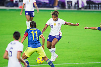 ORLANDO, FL - JANUARY 18: Catarina Macario #29 of the USWNT kicks the ball during a game between Colombia and USWNT at Exploria Stadium on January 18, 2021 in Orlando, Florida.