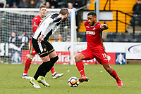 Nicky Hunt (Notts) attemps to take on Swanseas Luciano Narsingh during The Emirates FA Cup match between Notts County and Swansea City at Meadow Lane, Nottingham, England, UK. Saturday 27 January 2018