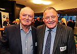 Sir Graham Henry and John Bayley. Kings College 1st XV Jersey Presentation at Bayleys Real Estate Head Office, Viaduct Harbour, Auckland, New Zealand. Wednesday 3 May 2017. Photo: Simon Watts/www.bwmedia.co.nz for Kings College
