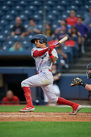 Reading Fightin Phils Arquimedes Gamboa (7) at bat during an Eastern League game against the Akron RubberDucks on June 4, 2019 at Canal Park in Akron, Ohio.  Akron defeated Reading 8-5.  (Mike Janes/Four Seam Images)