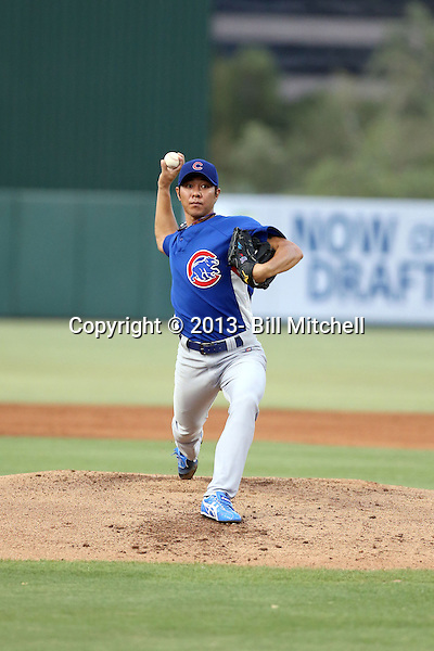 Chang-Yong Lim, a native of Korea and veteran of professional baseball leagues in Korea and Japan, pitches in his first game in the Chicago Cubs organization. Lim, who is recovering from Tommy John surgery, pitched one inning for the AZL Cubs of the rookie level Arizona League against the AZL Angels at Diablo Stadium on June 24, 2013 in Tempe, Arizona (Bill Mitchell)
