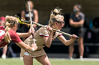 NEWTON, MA - MAY 16: Hollie Schleicher #28 of Boston College free position during NCAA Division I Women's Lacrosse Tournament second round game between Temple University and Boston College at Newton Campus Lacrosse Field on May 16, 2021 in Newton, Massachusetts.