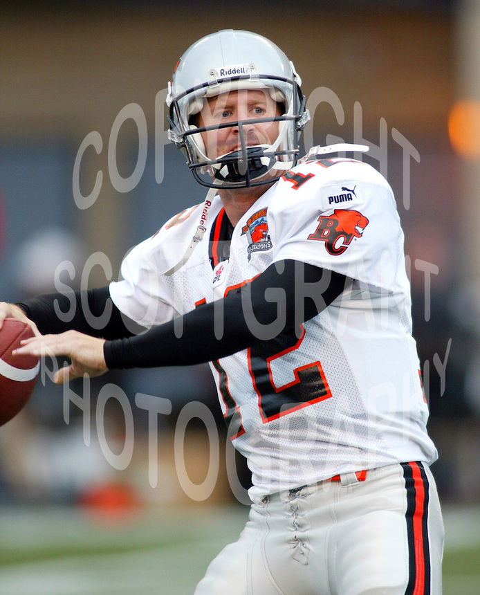 Dave Dickenson BC Lions quarterback. Copyright photograph Scott Grant/