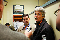 US women's national team head coach Pia Sundhage is interviewed during half time in the press box. Sky Blue FC and FC Gold Pride played to a 1-1 tie during a Women's Professional Soccer match at TD Bank Ballpark in Bridgewater, NJ, on April 11, 2009. Photo by Howard C. Smith/isiphotos.com