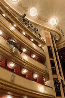 Logenplätze im Burgtheateram Universitätsring  in Wien, Österreich, UNESCO-Weltkulturerbe<br /> box seats and, Burgtheater, Vienna, Austria, world heritage