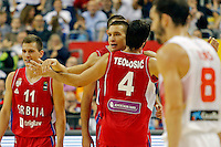 Milos Teodosic Nemanja Nedovic  Bogdan Bogdanovic European championship group B basketball game between Spain and Serbia on 05. September 2015 in Berlin, Germany  (credit image & photo: Pedja Milosavljevic / STARSPORT)