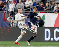 Foxborough, MA - May 25, 2019: In a Major League Soccer (MLS) match, New England Revolution (blue/white) tied D.C. United (white), 1-1, at Gillette Stadium on May 25, 2019 in Foxborough, MA. (Photo by Andrew Katsampes/ISI Photos).