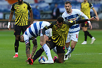 Etienne Capoue of Watford and Geoff Cameron of Queens Park Rangers goes for the ball during Queens Park Rangers vs Watford, Sky Bet EFL Championship Football at The Kiyan Prince Foundation Stadium on 21st November 2020