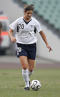 January 28, 2007:  USWNT midfielder (20) Yael Averbuch brings the ball up the field during the Four Nations Tournament held at Guangdong Olympic Stadium in Guanzhou, China.  The USWNT tied England, 1-1.