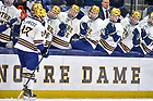 October 22, 2021; Trevor Janicke (27) celebrates with teammates on the bench after a goal against RIT at the Compton Family Ice Arena. (photo by Matt Cashore/University of Notre Dame)