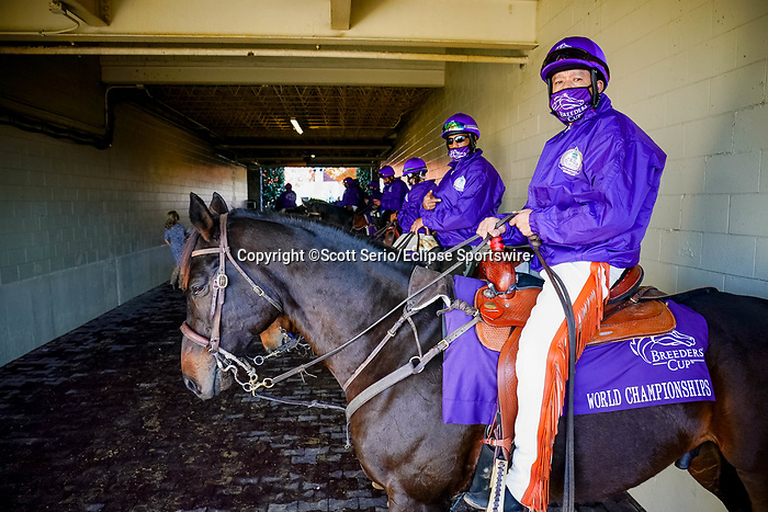 November 6, 2020: Ponies wait to escort horses in the post parade at Keeneland Racetrack in Lexington, Kentucky, on Friday, November 6, 2020. Scott Serio/Eclipse Sportswire/Breeders Cup/CSM