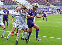 Manola Galofaro (10) of Sporting Charleroi pictured in a duel with Michelle Colson (2) of Anderlecht  during a female soccer game between RSC Anderlecht Dames and Sporting Charleroi  on the second matchday of the 2021 - 2022 season of Belgian Womens Super League , saturday 28 th of August 2021  in Brussels , Belgium . PHOTO SPORTPIX   DAVID CATRY