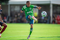 LAKE BUENA VISTA, FL - JULY 14: Miguel Ibarra #11 of the Seattle Sounders kicks the ball during a game between Seattle Sounders FC and Chicago Fire at Wide World of Sports on July 14, 2020 in Lake Buena Vista, Florida.