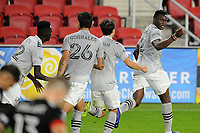 WASHINGTON, DC - NOVEMBER 8: Victor Wanyama #2 of Montreal Impact celebrates his score with teammates during a game between Montreal Impact and D.C. United at Audi Field on November 8, 2020 in Washington, DC.