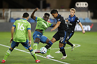 SAN JOSE, CA - OCTOBER 18: Andy Rios #25 of the San Jose Earthquakes is marked by Yeimar Gomez Andrade #28 of the Seattle Sounders during a game between Seattle Sounders FC and San Jose Earthquakes at Earthquakes Stadium on October 18, 2020 in San Jose, California.