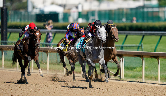 September 5, 2020: Rushie, #9, ridden by Javier Catellano, wins the Pat Day Mile on Kentucky Derby Day. The races are being run without fans due to the coronavirus pandemic that has gripped the world and nation for much of the year, with only essential personnel, media and ownership connections allowed to attend at Churchill Downs in Louisville, Kentucky. Scott Serio/Eclipse Sportswire/CSM
