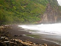 A group of hikers explore the black sand beach of Pololu Valley, Big Island.