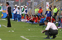PASTO -COLOMBIA, 16-06-2013. Juan Carlos Osorio técnico de Atlético Nacional reacciona durante el partido con Deportivo Pasto en los cuadrangulares finales F1 de la Liga Postobón 2013-1 jugado en el estadio La Libertad en la Ciudad de Pasto./ Atletico Nacional coach Juan Carlos Osorio reacts during the match with Deportivo Pasto in the final quadrangular 1th date of Postobon  League 2013-1 at La Libertad stadium in Pasto city. Photo: VizzorImage/STR