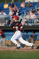 Batavia Muckdogs third baseman Bubba Hollins (34) at bat during a game against the Mahoning Valley Scrappers on August 18, 2017 at Dwyer Stadium in Batavia, New York.  Mahoning Valley defeated Batavia 8-2.  (Mike Janes/Four Seam Images)