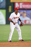 Harrisburg Senators shortstop Osvaldo Abreu (10) during a game against the Bowie Baysox on May 16, 2017 at FNB Field in Harrisburg, Pennsylvania.  Bowie defeated Harrisburg 6-4.  (Mike Janes/Four Seam Images)