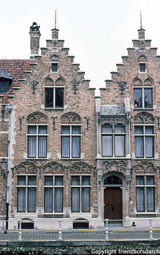 Bruges: Flemish Step-Gable Houses, 17th C. Photo '87.