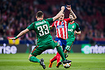 Saul Niguez Esclapez (R) of Atletico de Madrid competes for the ball with Solomon Kvirkvelia of FC Lokomotiv Moscow during the UEFA Europa League 2017-18 Round of 16 (1st leg) match between Atletico de Madrid and FC Lokomotiv Moscow at Wanda Metropolitano  on March 08 2018 in Madrid, Spain. Photo by Diego Souto / Power Sport Images