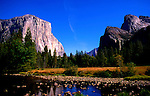 Famous view over Merced River of Yosemite Valley, Yosemite National Park.