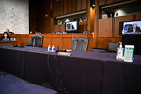 Some Democratic Senators are absent on the fourth day of the Supreme Court confirmation hearing for nominee Judge Amy Coney Barrett before the Senate Judiciary Committee on Capitol Hill on October 15, 2020 in Washington, DC. With less than a month until the presidential election, President Donald Trump tapped Amy Coney Barrett to be his third Supreme Court nominee in just four years. If confirmed, Barrett would replace the late Associate Justice Ruth Bader Ginsburg. <br /> Credit: Samuel Corum / Pool via CNP /MediaPunch