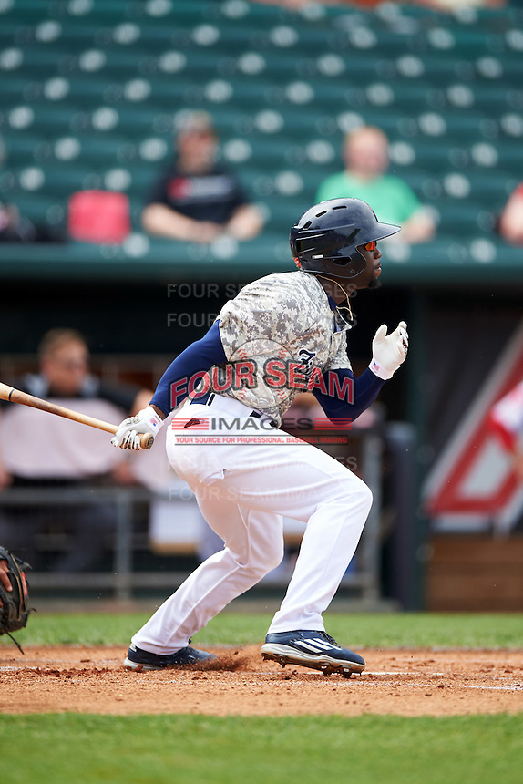 New Hampshire Fisher Cats left fielder Roemon Fields (4) during a game against the Reading Fightin Phils on May 30, 2016 at Northeast Delta Dental Stadium in Manchester, New Hampshire.  New Hampshire defeated Reading 9-1.  (Mike Janes/Four Seam Images)