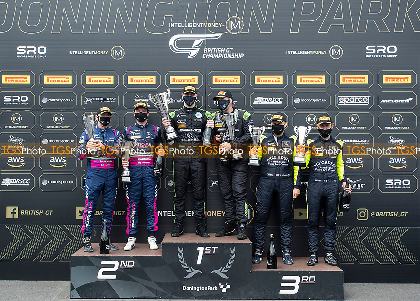 Father and Son combination Richard Neary & Sam Neary, Mercedes AMG GT3, Team Abba Racing on top of the GT3 podium during the British GT & F3 Championship on 11th July 2021